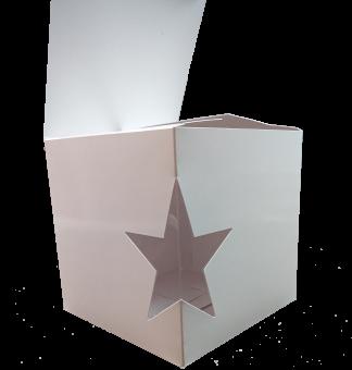 Картонная коробка 160х160х160, с вклеенным окном на сгибе